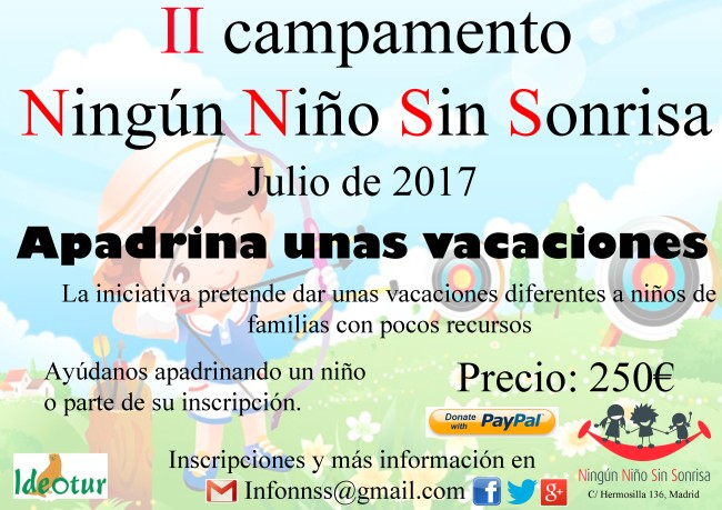 Ningún Niño Sin Sonrisa - apadrina unas vacaciones 2017 - Ideotur